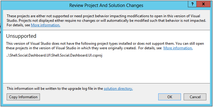 Project not supported